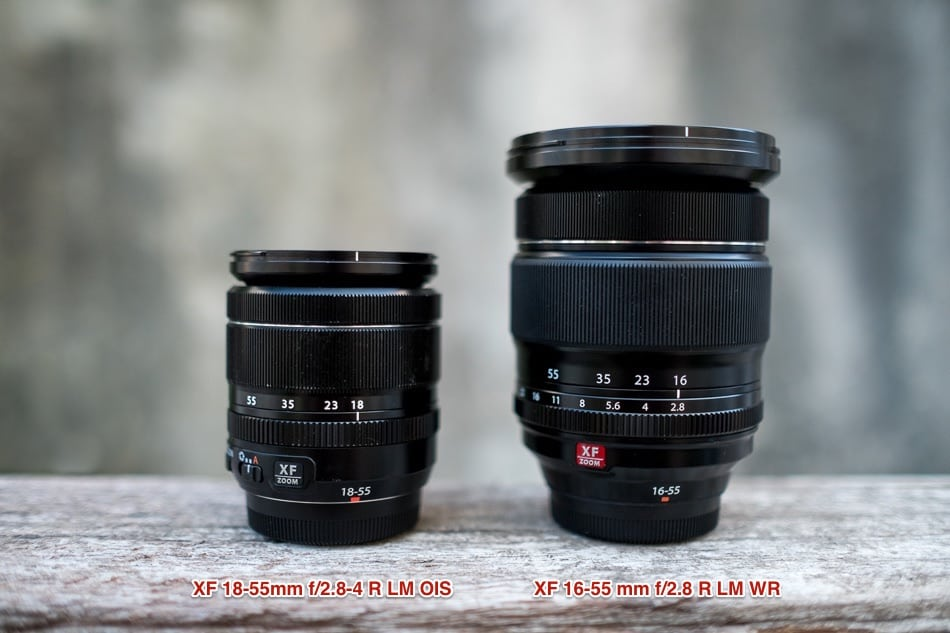 A size comparison between the 18-55 mm and the 16-55 mm