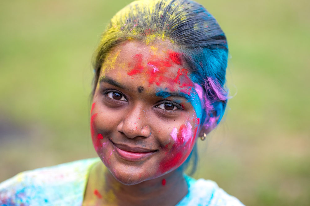 "This beautiful young lady is on of the ""Indian"" extras on the set. She is a local here living in Penang. The color is from the day we shot a holi celebration."