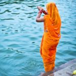 A worshiper on the banks of the Ganges.