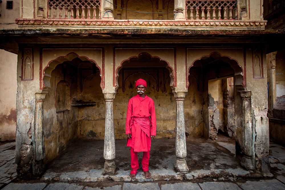 A Rajasthani man stands with the classic Indian mustache.
